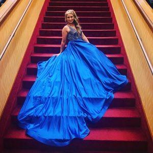 Mac Duggal Sapphire Blue Couture Gown